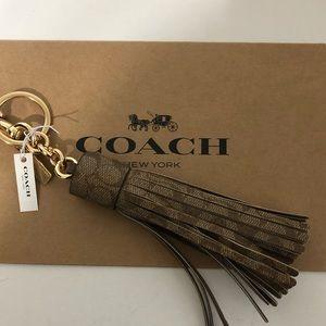 Coach Signature Khaki/Brown Tassel Key/ Bag Charm